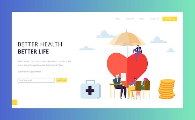 Conceito de página inicial do sinal da apólice de seguro de saúde familiar.