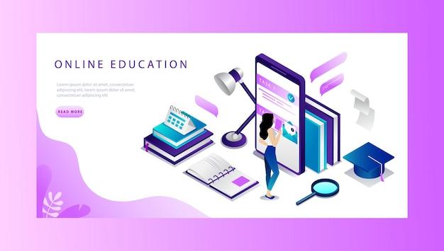Conceito de página inicial do site de educação on-line isométrica.