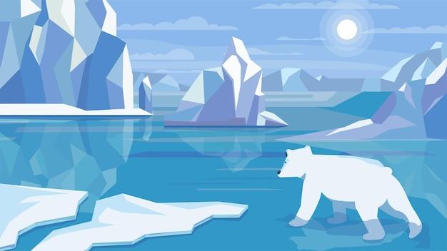 Conceito de paisagem antártica em design plano dos desenhos animados. urso polar em água fria, enormes blocos de gelo, icebergs, permafrost, neve e geada. vista panorâmica da vida selvagem. fundo horizontal da ilustração vetorial
