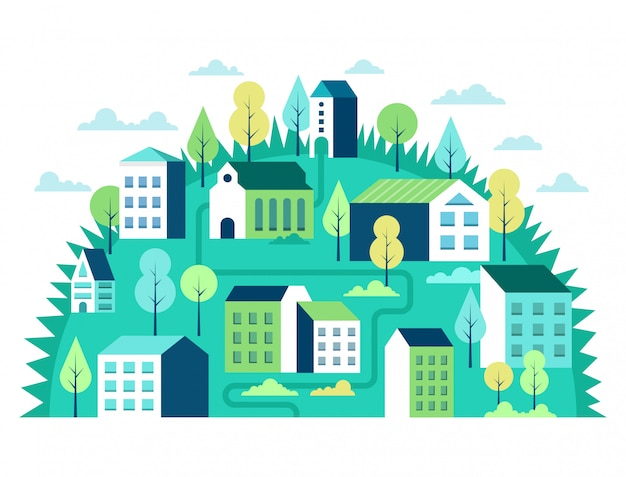 Conceito de paisagem da cidade. cena urbana geométrica