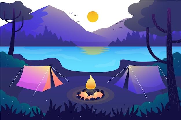 Conceito de paisagem de área de acampamento