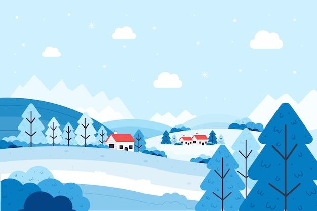 Conceito de paisagem de inverno design plano Vetor grátis