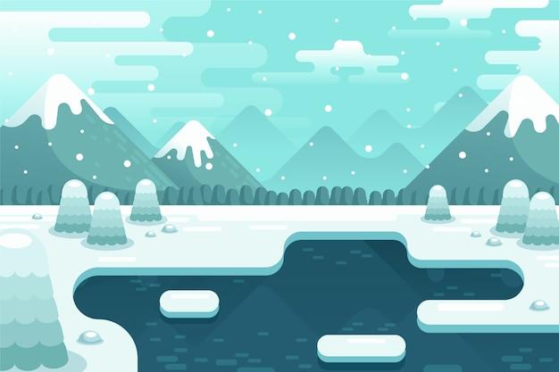 Conceito de paisagem de inverno em design plano