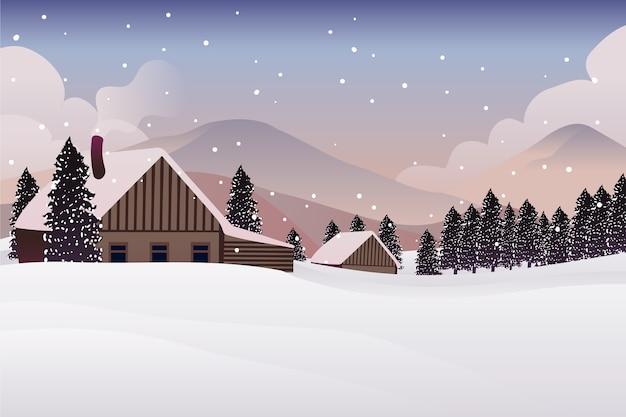 Conceito de paisagem de inverno na mão desenhada