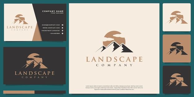 Conceito de paisagem de montanha de logotipo de vetor