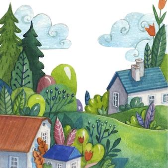 Conceito de paisagem de primavera em aquarela
