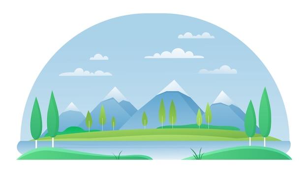 Conceito de paisagem de verão de montanha com lago e rio