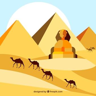 Conceito de paisagem do egito com pirâmides e caravana