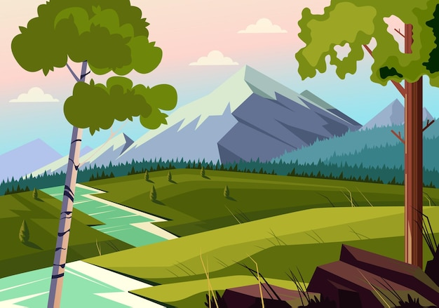 Conceito de paisagem fluvial de prados naturais
