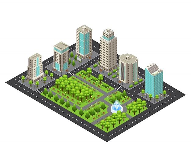 Conceito de paisagem urbana de luz isométrica