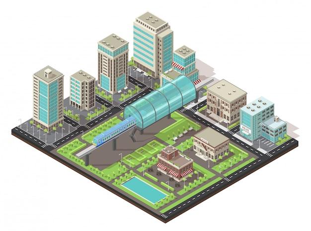 Conceito de paisagem urbana isométrica