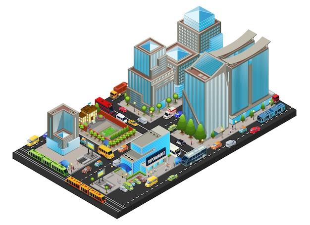 Conceito de paisagem urbana moderna isométrica