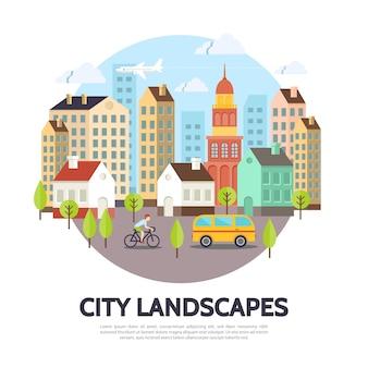 Conceito de paisagem urbana plana com edifícios de diferentes estruturas árvores avião ônibus céu homem andando de bicicleta ilustração