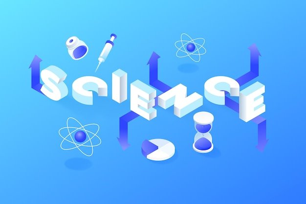 Conceito de palavra ciência isométrica com pacote de elementos