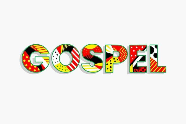Conceito de palavra colorida do evangelho religioso