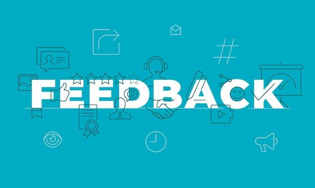Conceito de palavra de feedback. envolvimento dos funcionários. satisfação do cliente. ideia de tipografia de rotulação isolada com ícones de linha. revisão e conselhos banner de ilustração de contorno vetorial