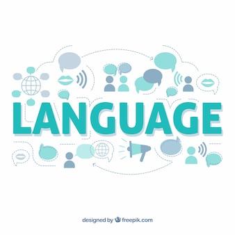 Conceito de palavra de linguagem com design plano
