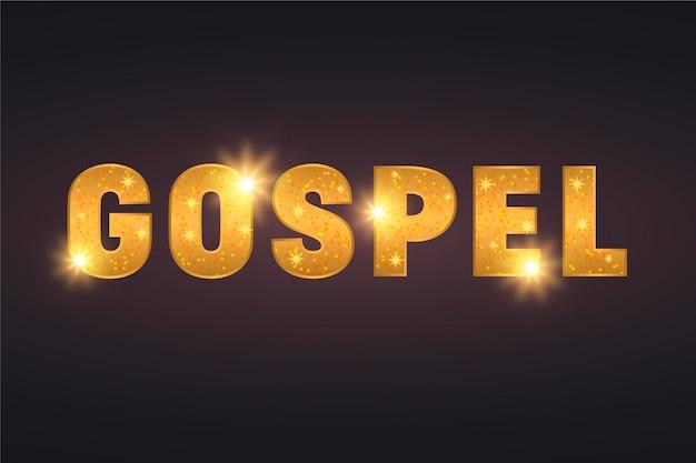 Conceito de palavra gospel dourada