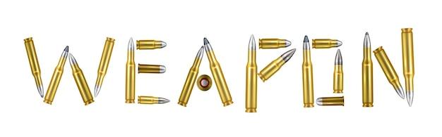 Conceito de palavra realista de arma representando palavra composta de balas de ouro