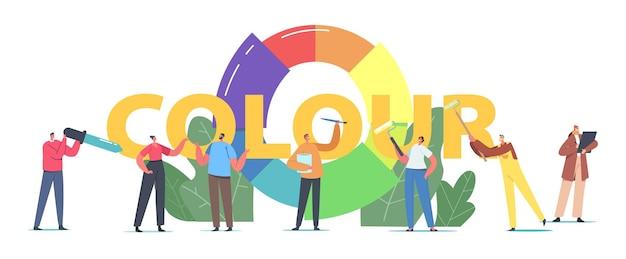 Conceito de paleta de cores. personagens de designer trabalhando com roda de cores escolha matizes para projeto de design, reforma de interiores de casa, pintura de pôster, banner ou panfleto. ilustração em vetor desenho animado