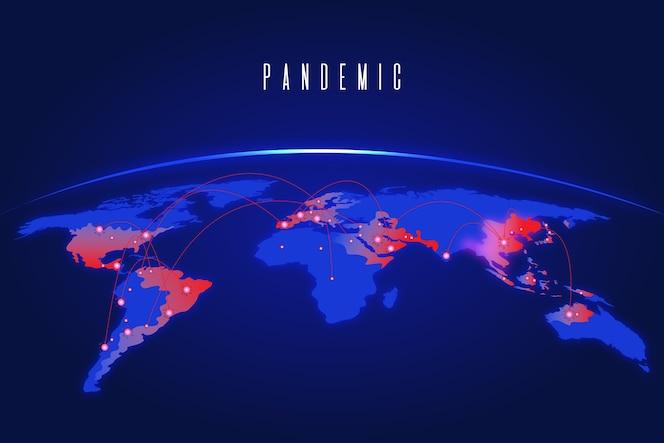 Conceito de pandemia com mapa