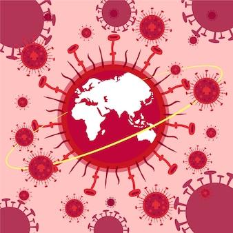 Conceito de pandemia com planeta doente