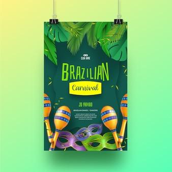 Conceito de panfleto de carnaval brasileiro realista para modelo
