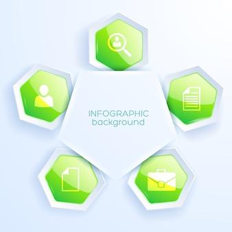 Conceito de papel de infográfico de negócios com cinco tabelas de hexágono verde com ícones