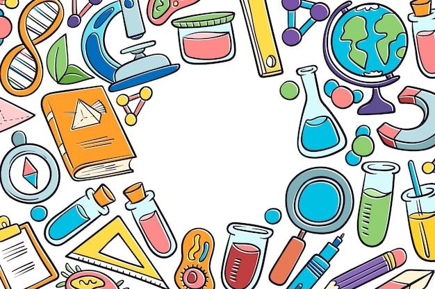 Conceito de papel de parede de educação científica desenhados à mão