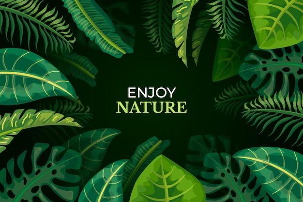 Conceito de papel de parede de folhas tropicais