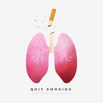 Conceito de parar de fumar com pulmões