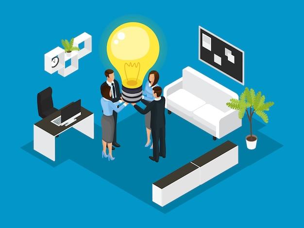 Conceito de parceria de negócios isométrica