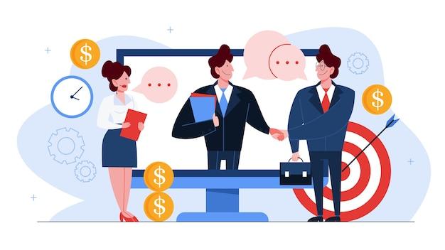 Conceito de parceria de sucesso, cooperação de empresários. uma ideia de solução de trabalho em equipe. ilustração de um aperto de mão de dois empresários em acordo.