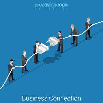 Conceito de parceria isométrica plana de conexão de negócios dois grupos de micro empresários conectando o plugue e a tomada grandes.