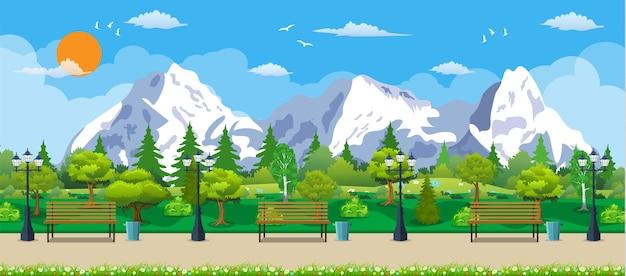 Conceito de parque de montanha, banco de madeira, lâmpada de rua, lixeira na praça