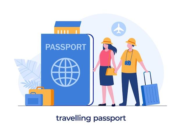 Conceito de passaporte de viagem, casal em férias, passaporte e passagem de avião, turista, vetor de ilustração plana