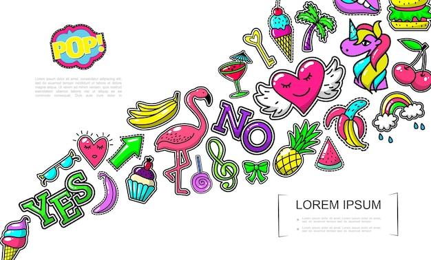 Conceito de patches de moda pop art com sorvete flamingo bolo coração bananas abacaxi arco melancia cocktail arco-íris hambúrguer de palma unicórnio ilustração pirulito cereja