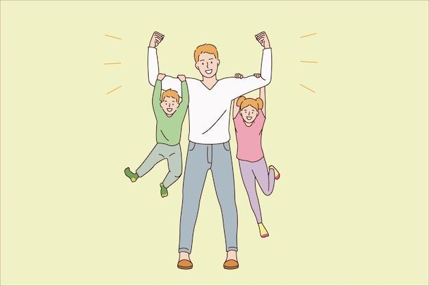 Conceito de paternidade e infância feliz