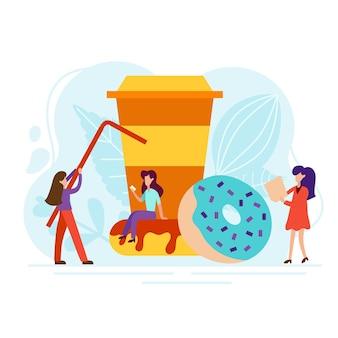 Conceito de pausa para o café com pessoas minúsculas, xícara e donut em estilo simples. bom dia ilustração para café cartão, menu, impressão. cartaz de vetor de almoço criativo.