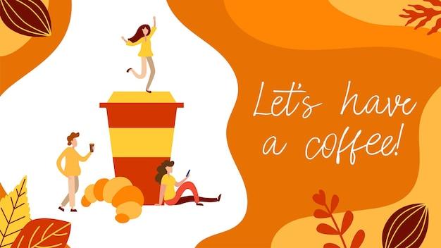 Conceito de pausa para o café com pessoas minúsculas, xícara e donut em estilo simples. sirva a ilustração da página da web do cliente para cartão de café, menu, impressão. cartaz de vetor de almoço criativo.