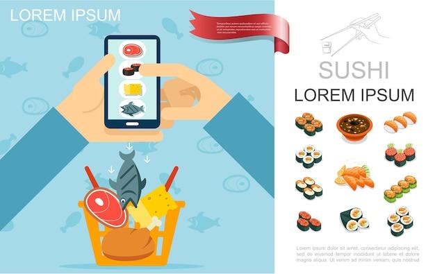 Conceito de pedido on-line de comida plana com um homem segurando uma carne de frango com queijo de peixe móvel e rolos de sushi isométricos. ilustração de sashimi