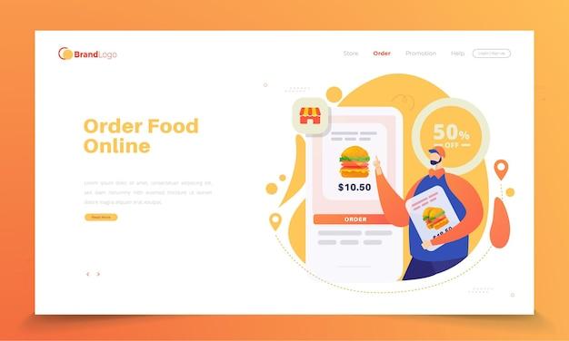 Conceito de pedido online de hambúrgueres na página de destino