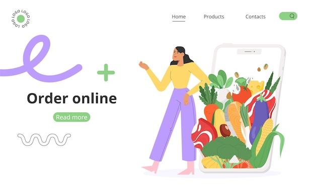 Conceito de pedir comida online