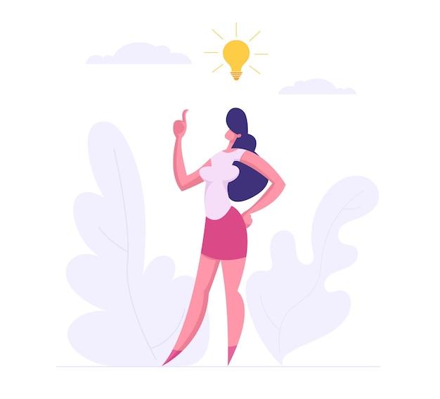 Conceito de pensamento criativo de sucesso de negócios com ilustração de mulher de negócios Vetor Premium