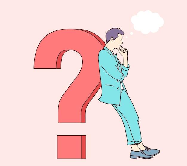 Conceito de pensamento de brainstorm de perguntas