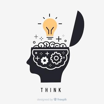 Conceito de pensamento desenhado mão