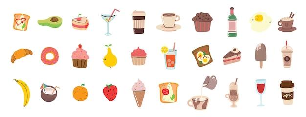 Conceito de pequeno-almoço com conjunto de ícones lisos de alimentos e bebidas frescos. ilustração moderna em estilo simples.