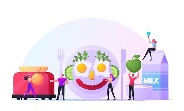 Conceito de pequeno-almoço divertido. personagens masculinos e femininos, cozinhando refeição engraçada, parecem rosto humano sorridente feito de ovos fritos, salsicha e vegetais no prato. pessoas minúsculas cozinham alimentos. ilustração em vetor de desenho animado