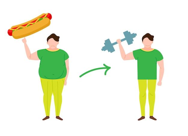 Conceito de perda de peso antes e depois da dieta e da aptidão do homem gordo e magro