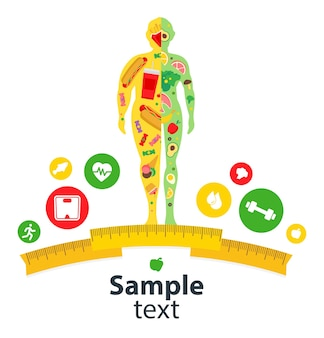 Conceito de perda de peso corpo treino ativo estilo de vida saudável antes e depois da dieta e fitness